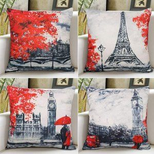 Red Paris Throw Pillow Covers 18x18 Inches Black